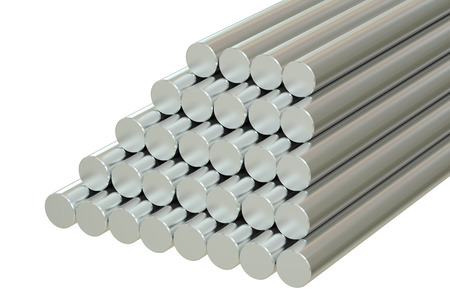aluminum rod: Steel Round Bars, 3D rendering isolated on white background