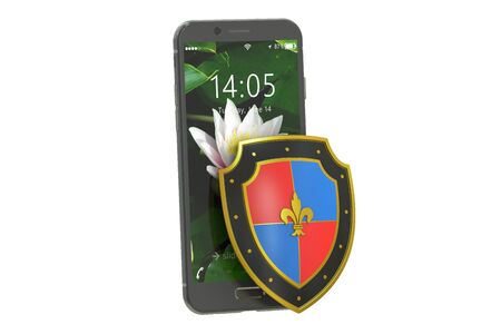 safest: Mobile security and antivirus protection concept, 3D rendering