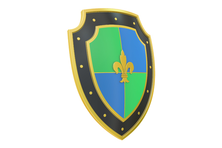 safest: Shield, 3D rendering isolated on white background
