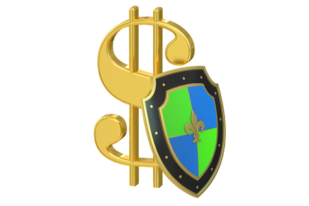 safest: symbol dollar with shield, financial  stability concept. 3D rendering