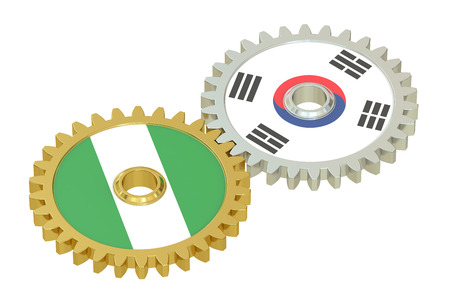 affairs: South Korea and Nigeria relations concept, flags on a gears. 3D rendering isolated on white background Stock Photo