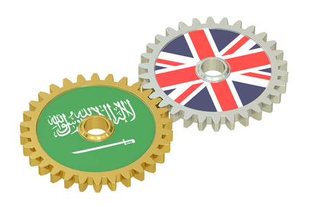 affairs: United Kingdom and Saudi Arabia relations concept, flags on a gears. 3D rendering isolated on white background