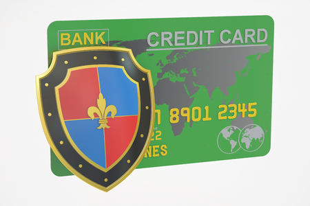 safest: Credit card with security shield, 3D rendering isolated on white background