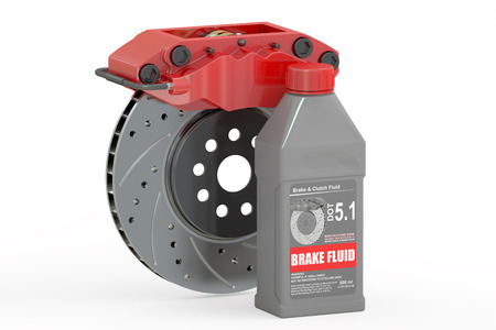 brake pad: Brake Fluid with Disk Brake, 3D rendering isolated on white background