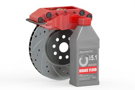El líquido de frenos con disco de freno, representación 3D aislada en el fondo blanco Foto de archivo