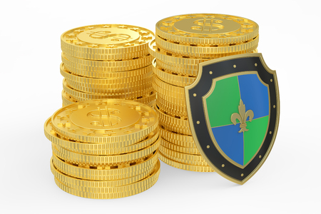 safest: coins with shield, financial insurance and business stability concept. 3D rendering