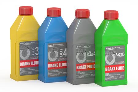 brake pad: Set of Brake Fluid Bottles, 3D rendering isolated on white background