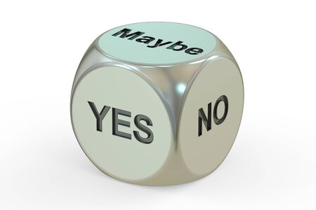yes or no: yes, no, maybe dice, 3D rendering isolated on white background