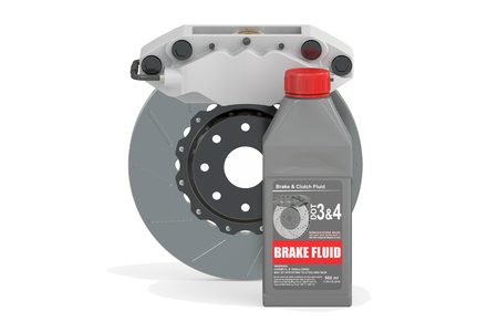 traction: Brake Fluid with Disk Brake, 3D rendering isolated on white background