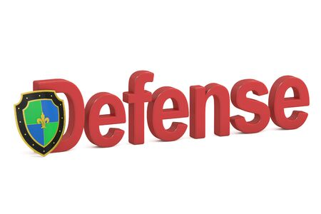 iron defense: Defense concept with shield, 3D rendering isolated on white background