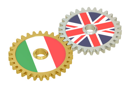 italian politics: United Kingdom and Italy relations concept, flags on a gears. 3D rendering isolated on white background