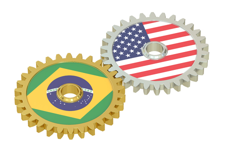 affairs: Brazil and United States relations concept, flags on a gears. 3D rendering isolated on white background