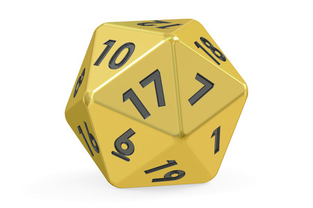 role play: Red twenty-sided die, 20 sides. 3D rendering isolated on white background