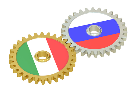 italian politics: Russia and Italy flags on a gears, 3D rendering isolated on white background