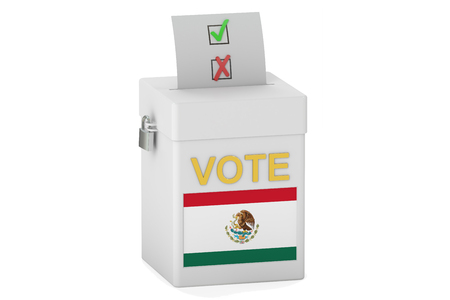 balloting: voting concept, with flag of Mexico on the ballot box. 3D rendering