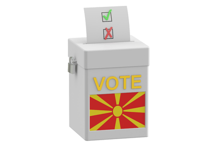 voting: voting concept with flag of Macedonia on ballot box