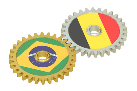affairs: Brazil and Belgium flags on a gears, 3D rendering isolated on white background Stock Photo