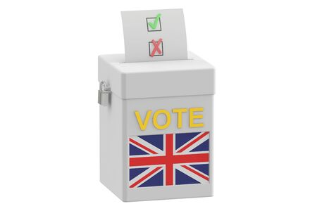 elect: ballot box with flag of United Kingdom, 3D rendering isolated on white background Stock Photo