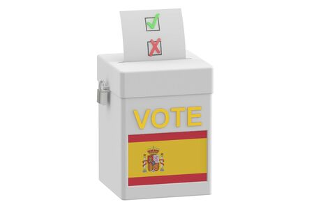 elect: ballot box with flag of Spain, 3D rendering isolated on white background