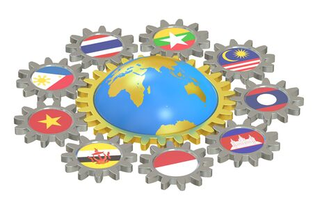 asean: ASEAN concept with gears, 3D rendering isolated on white background