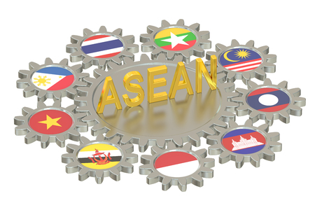 asean: ASEAN concept, 3D rendering isolated on white background