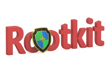 malicious software: Rootkit concept with shield, 3D rendering