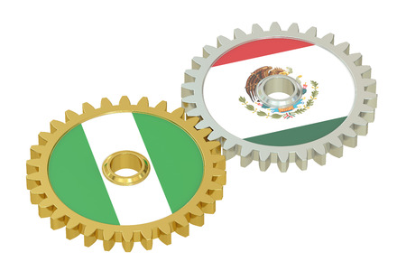 affairs: Mexico and Nigeria flags on a gears, 3D rendering isolated on white background