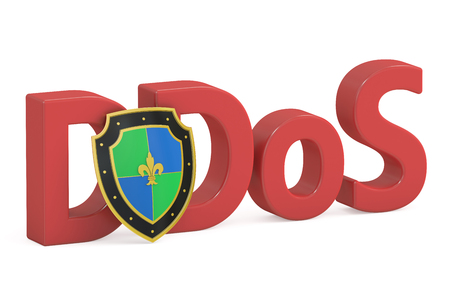 ddos: DDOS concept with shield, 3D rendering Stock Photo