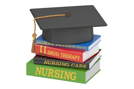 enfermera con cofia: Enfermería concepto de la educación, representación 3D aislada en el fondo blanco