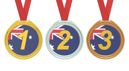 first australians: Gold, Silver and Bronze medals with Australian flag, 3D rendering isolated on white background