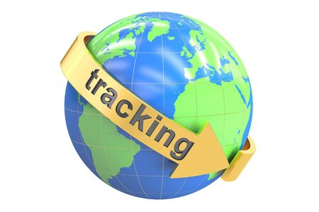 tracking: Global Tracking concept, 3D rendering isolated on white background
