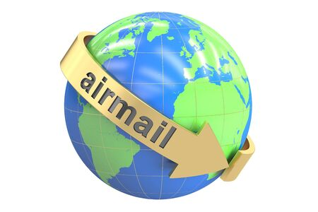 package sending: Global Airmail concept, 3D rendering isolated on white background Stock Photo