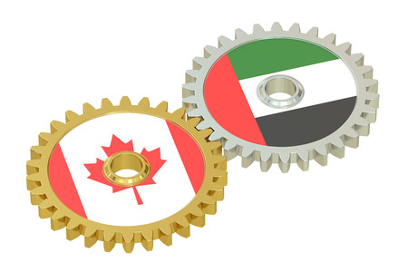 affairs: Canada and UAE relations concept, flags on a gears. 3D rendering isolated on white background