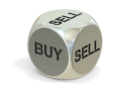 unsure: buy or sell dice, 3D rendering isolated on white background Stock Photo