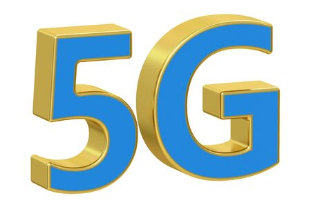 5g: 5G concept, 3D rendering  isolated on white background