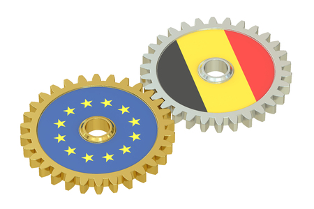 affairs: Belgium and EU flags on a gears, 3D rendering isolated on white background
