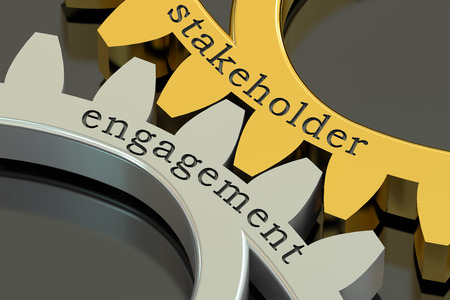 stakeholder: stakeholder engagement concept on the gearwheels, 3D rendering Stock Photo