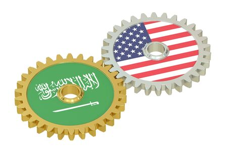 relations: Saudi Arabia and United States relations concept, flags on a gears. 3D rendering isolated on white background Stock Photo