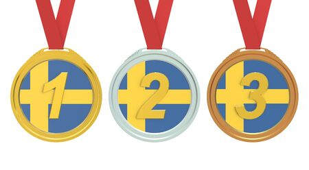 bandera suecia: Gold, Silver and Bronze medals with Sweden flag, 3D rendering