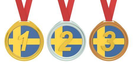 sweden flag: Gold, Silver and Bronze medals with Sweden flag, 3D rendering