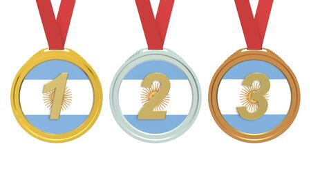 argentina flag: Gold, Silver and Bronze medals with Argentina flag, 3D rendering