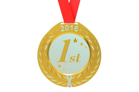 first rate: Gold medal 2016, 3D rendering  isolated on white background