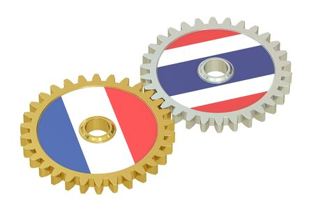 affairs: Taiwan and France flags on a gears, 3D rendering isolated on white background