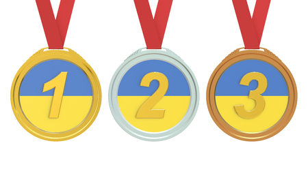 ukraine flag: Gold, Silver and Bronze medals with Ukraine flag, 3D rendering