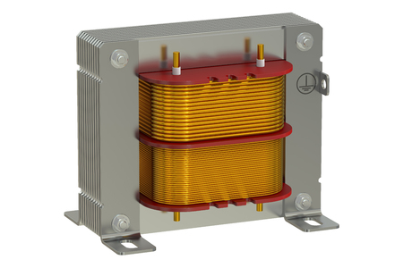 alternating current: Electric transformer, 3D rendering isolated on white background Stock Photo