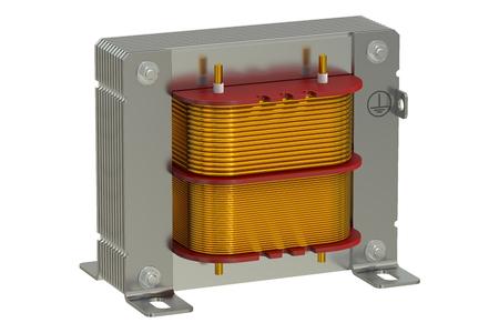 Transformador eléctrico, representación 3D aislada en el fondo blanco