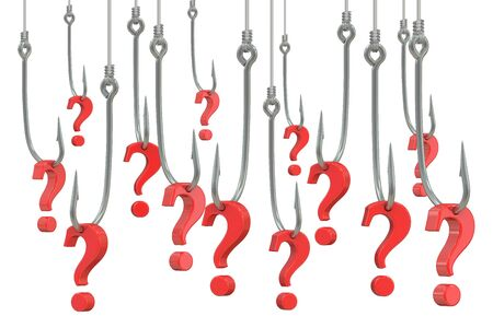 questioning: fishing hook with question marks, 3D rendering isolated on white background