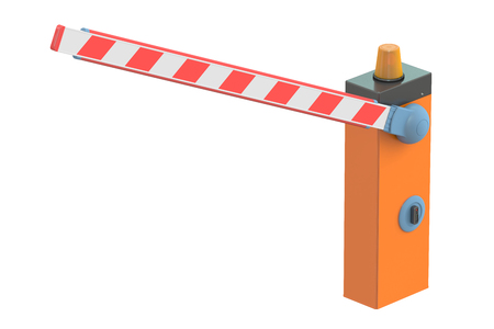 entrance is forbidden: Boom barrier, 3D rendering isolated on white background