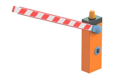 schlagbaum: Boom Barriere, 3D-Rendering auf weißem Hintergrund