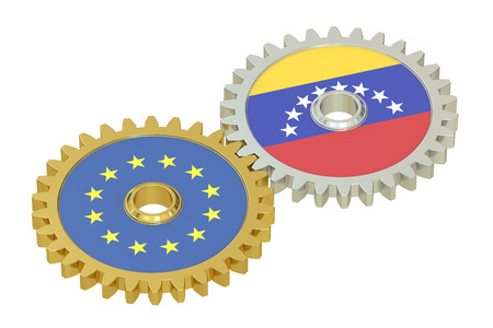 affairs: EU and Venezuela relations concept, flags on a gears. 3D rendering isolated on white background Stock Photo
